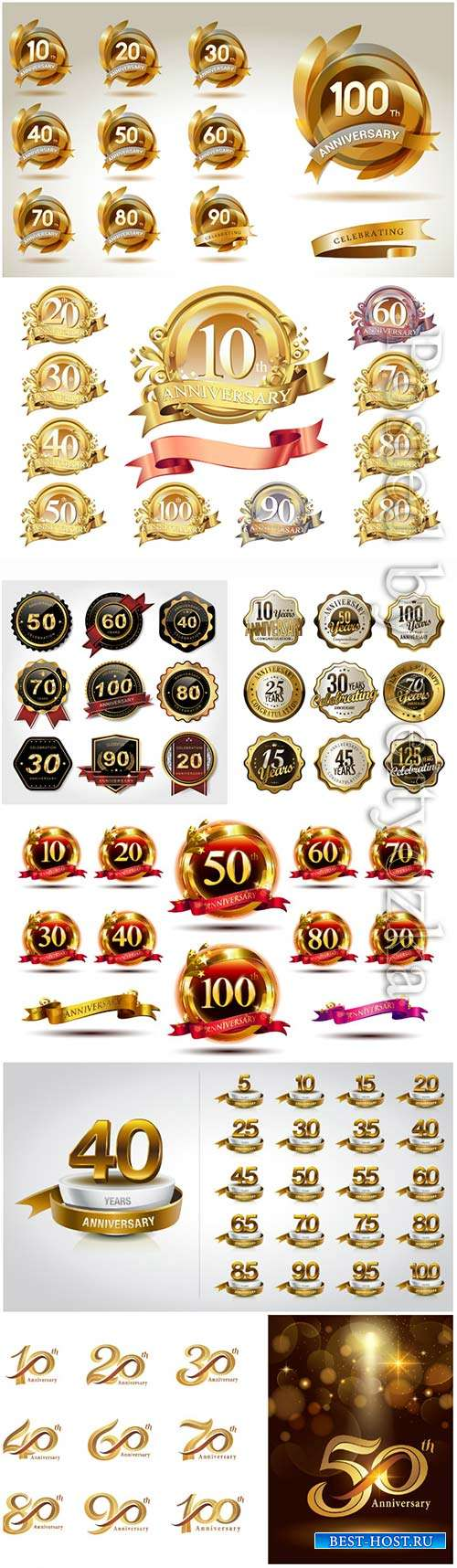 Set of golden anniversary logo celebration, labels collection