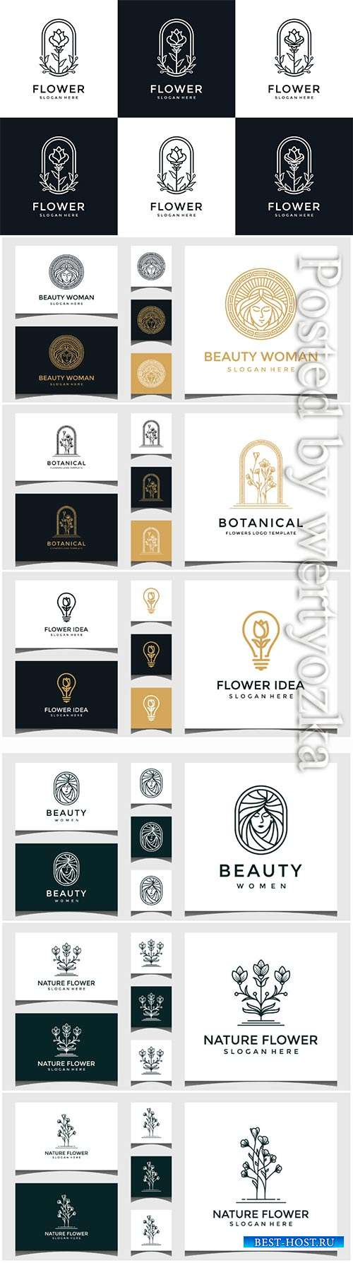 Set of flower logo design in line art style