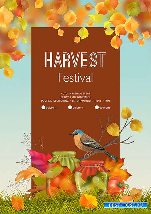 Autumn harvest festival flyer or poster vector template