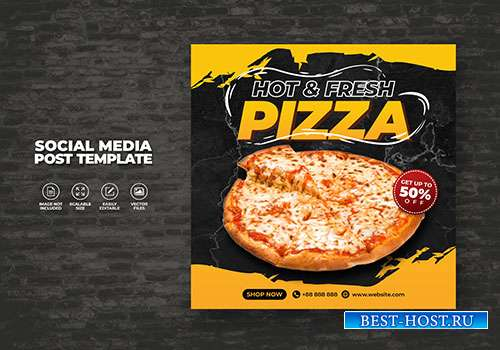 Food vector menu and delicious pizza