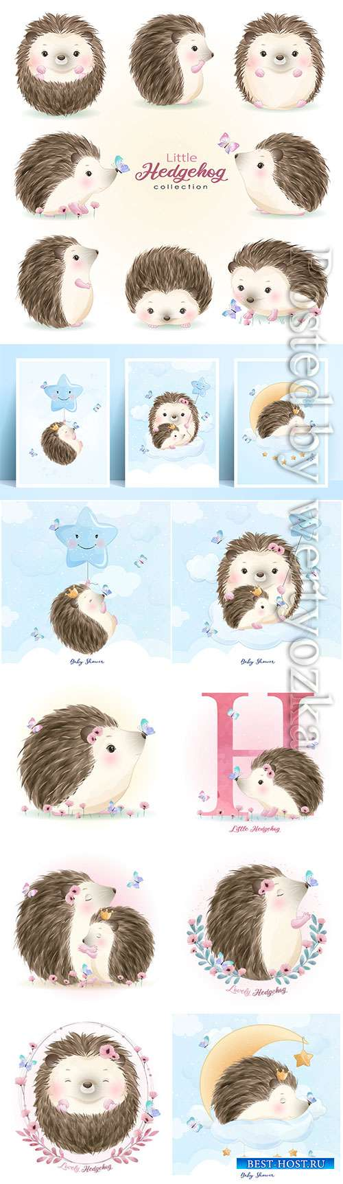 Cute doodle hedgehog set with watercolor vector illustration