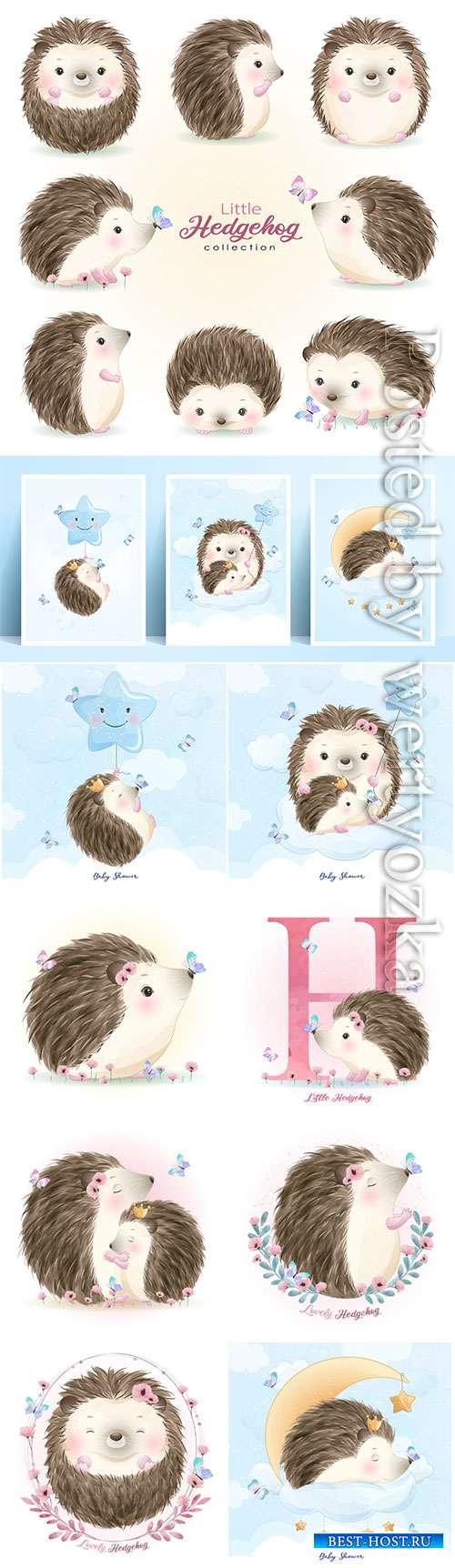 Cute doodle hedgehog set with watercolor vector illustration