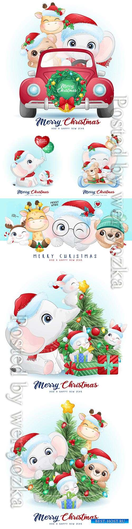 Cute doodle animals for christmas day with watercolor vector illustration