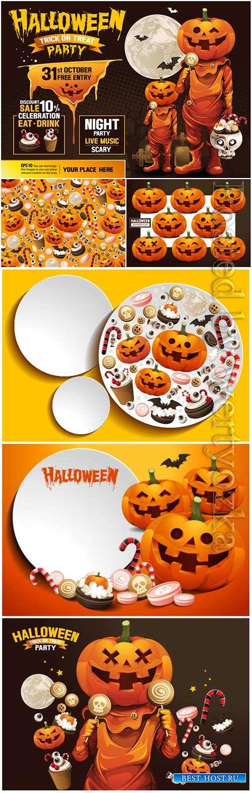 Happy halloween vector, ghost, treat or trick