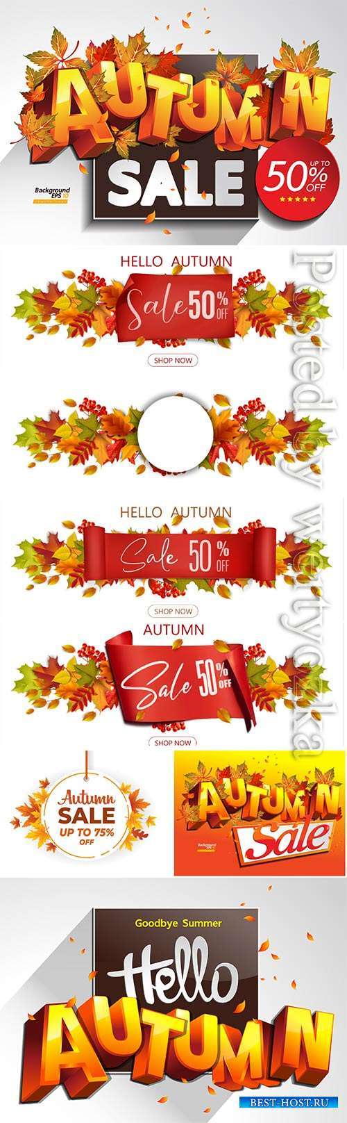 Autumn banner vector template with colorful autumn leaves