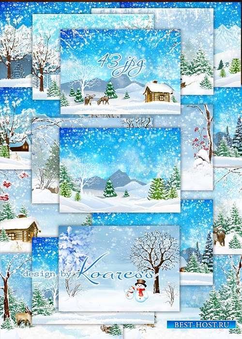 Сборник зимних фонов - Set of winter ipg backgrounds