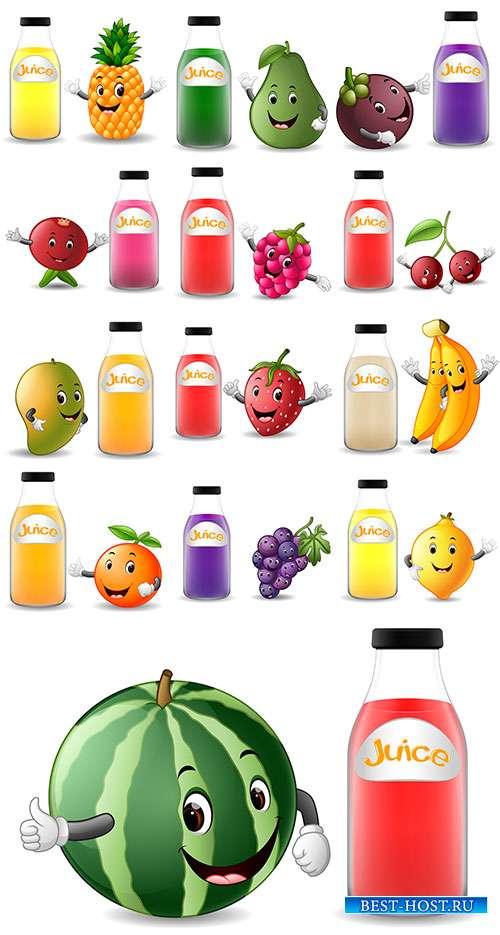 Фрукты и фруктовые соки - Векторный клипарт