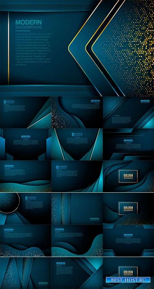 Голубые фоны - Векторный клипарт