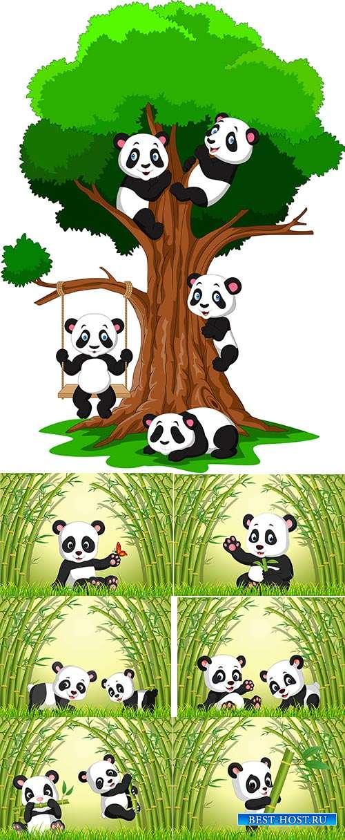 Панда в бамбуковом лесу - Векторный клипарт