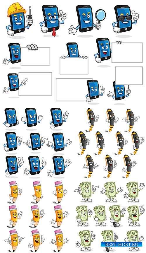 Деньги, ручки, карандаши и смартфон с эмоциями - Векторный клипарт