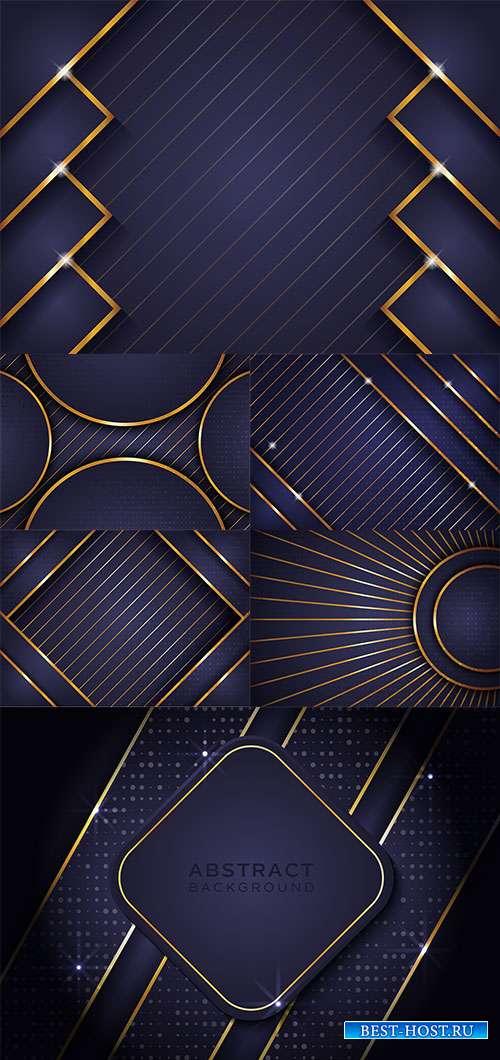 Фиолетовые с золотыми линиями векторные фоны