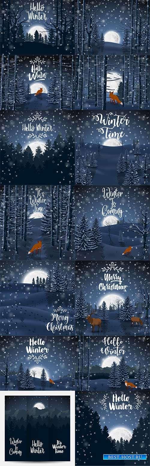 Зимний лес ночью - Векторные фоны