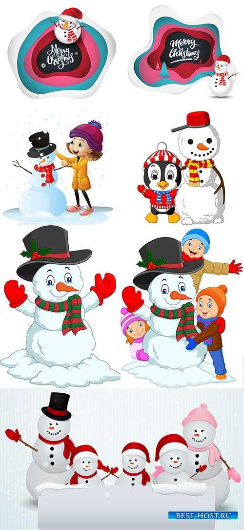 Снеговики - Векторный клипарт