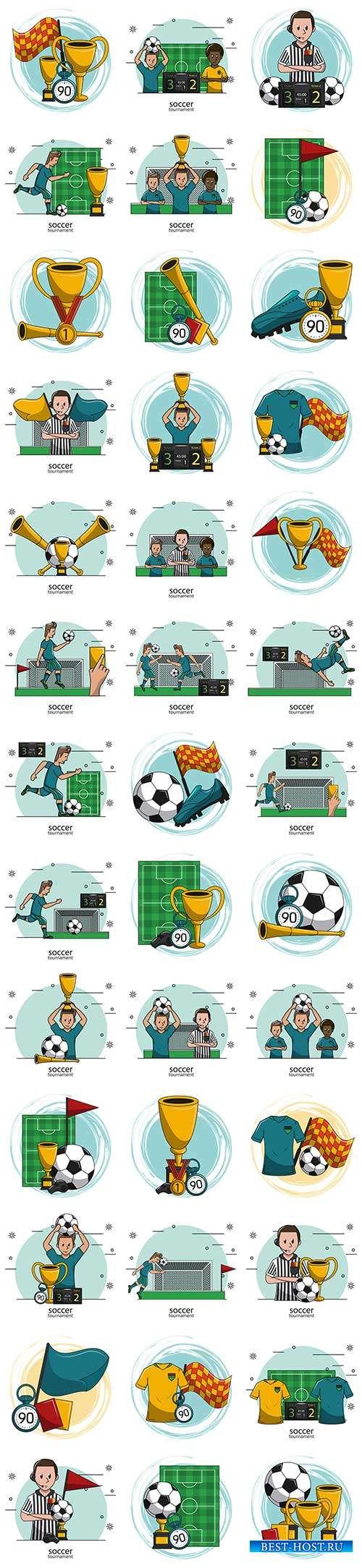 Футбольная атрибутика - Векторный клипарт