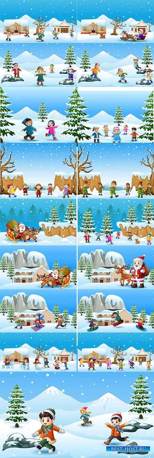 Наступила зима - веселится детвора - Векторный клипарт