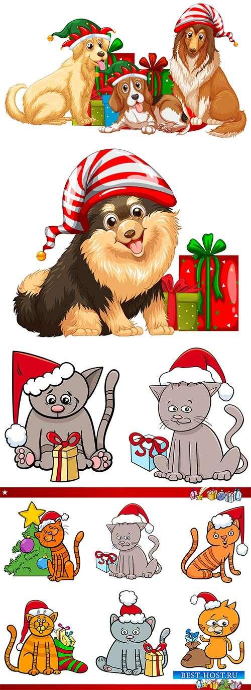 Собаки и коты в новогодних шапках - Векторный клипарт