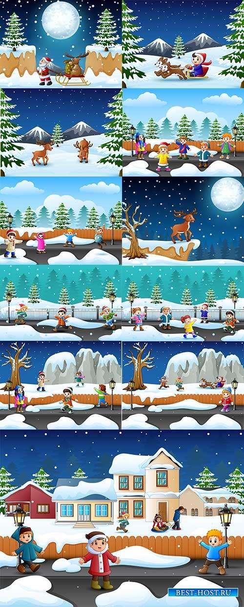 Наступила зима - веселится детвора - 2 - Векторный клипарт