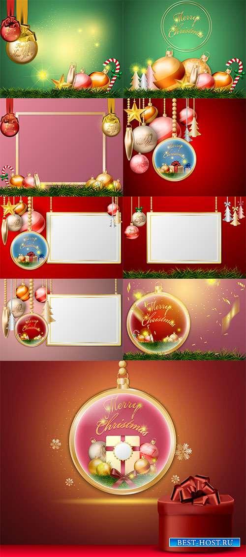 Новогоднее украшение - разноцветные шары - Векторные фоны