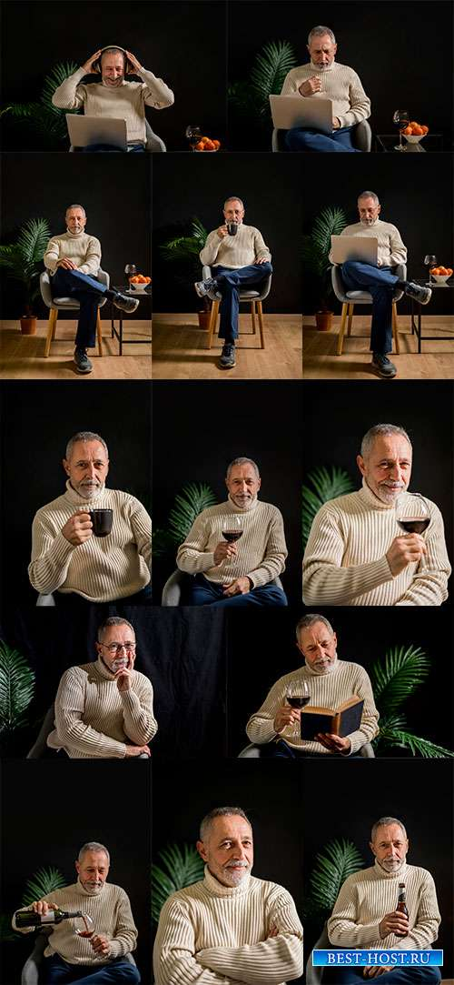 Мужчина в бокалом вина - Фотоклипарт