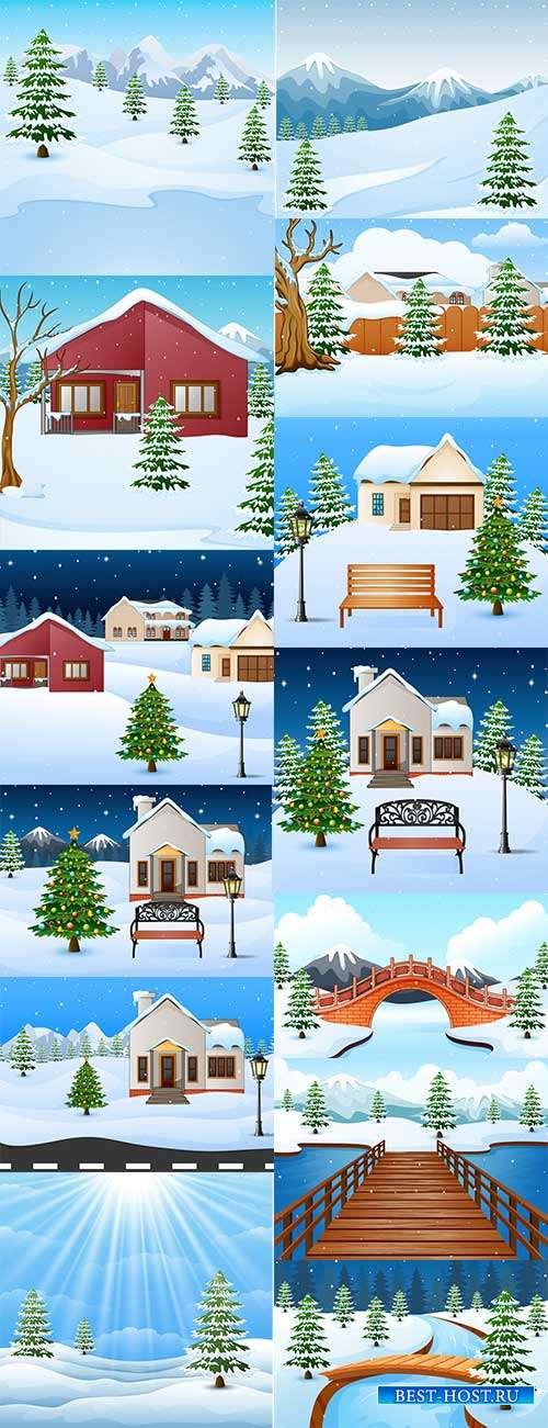 Зимние пейзажи - Векторные фоны