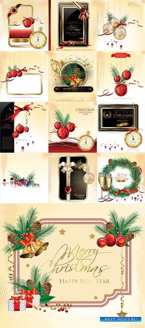 Праздничные новогодние фоны - Векторный клипарт