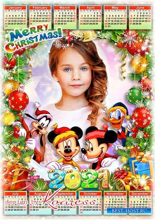 Новогодний календарь на 2021 год с героями  мультфильмов - Merry Christmas calendar with cartoons