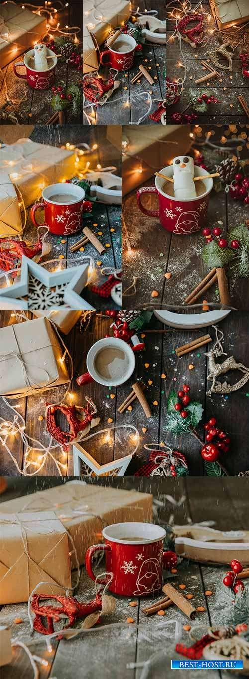 Новогодние праздничные фоны - Растровый клипарт