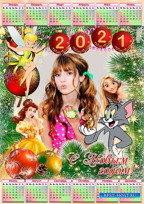 Настенный календарь на 2021 год с рамкой под детское фото - Диснеевские мул ...