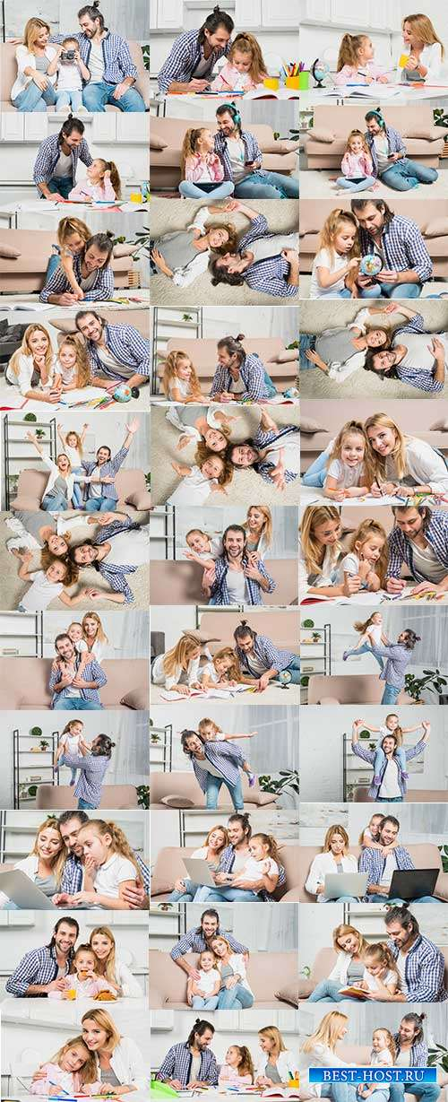 Счастливая семья - мама, папа и дочка - Фотоклипарт