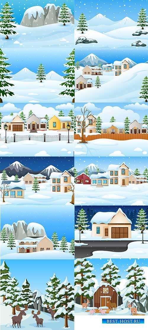 Зимние пейзажи - 2 - Векторные фоны