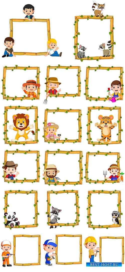 Векторные рамки из дерева с животными и детьми