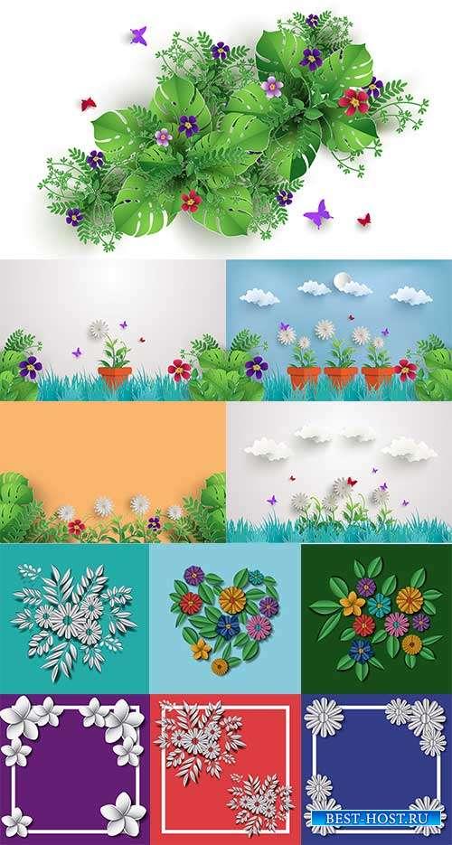Красивые цветы - Векторный клипарт