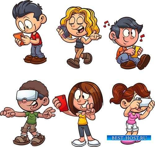 Дети со смартфонами - Векторный клипарт
