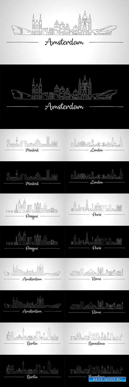 Города Европы в векторе