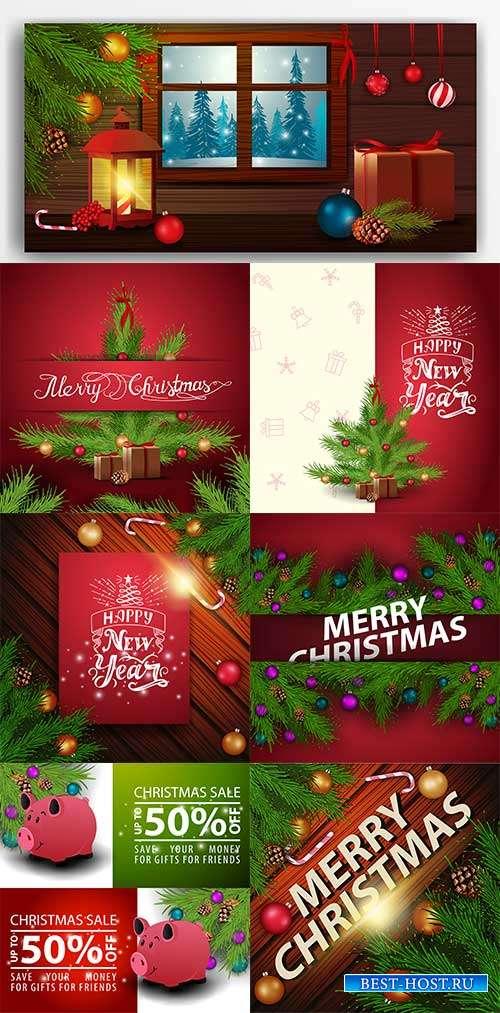 Праздничные новогодние фоны - 2 - Векторный клипарт