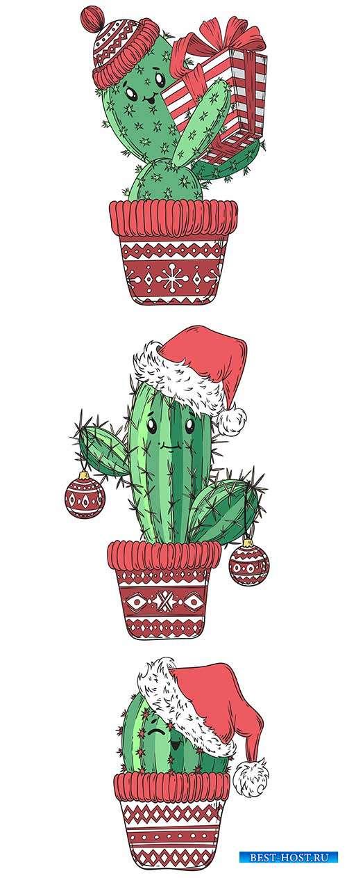 Новогодний кактус - Векторный клипарт