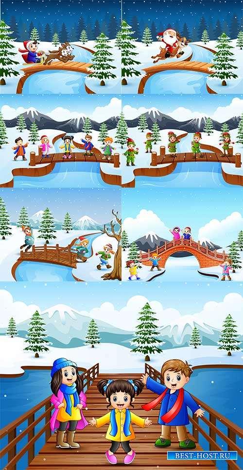 Наступила зима - веселится детвора - 3 - Векторный клипарт