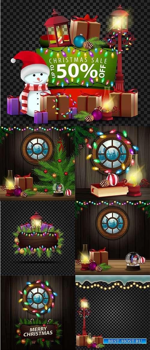 Праздничные новогодние фоны - 3 - Векторный клипарт