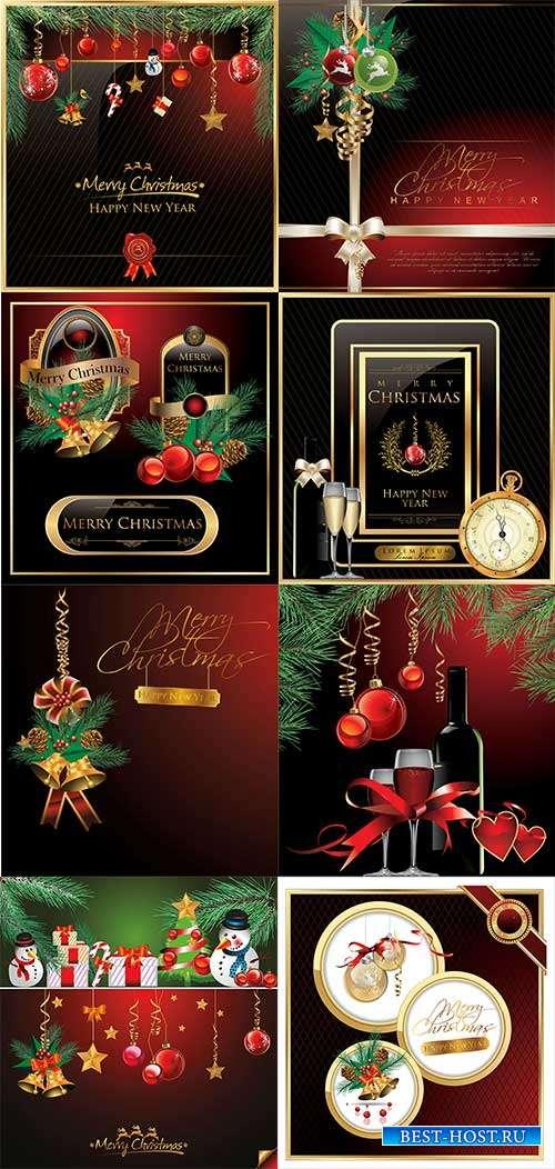 Праздничные новогодние фоны - 4 - Векторный клипарт