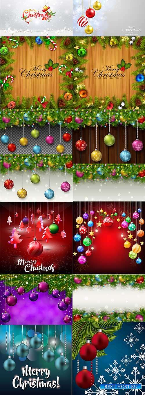 Праздничные новогодние фоны - 5 - Векторный клипарт