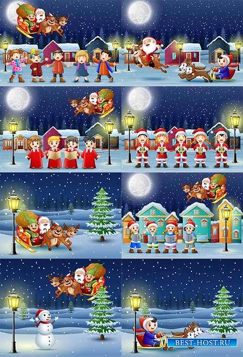 Наступила зима - веселится детвора - 4 - Векторный клипарт
