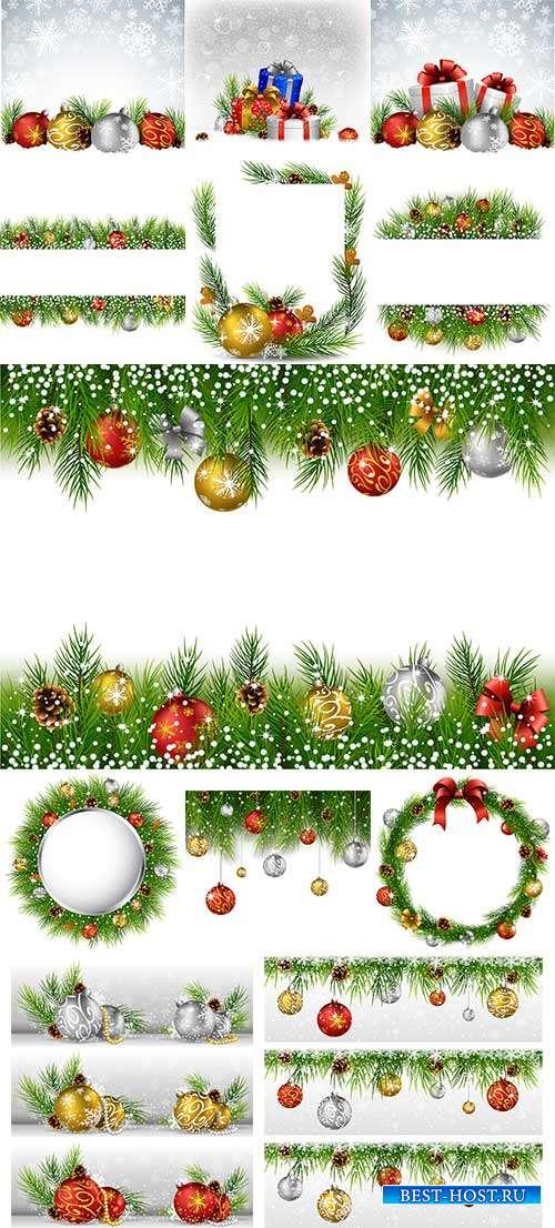 Праздничные новогодние фоны - 7 - Векторный клипарт