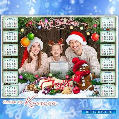 Новогодний, рождественский календарь на 2021 год  - Merry Christmas calenda ...