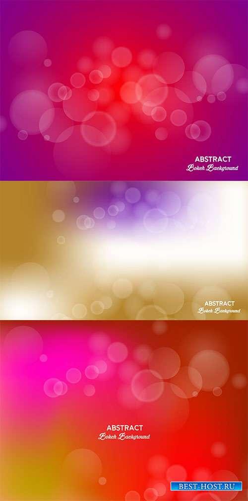 Разноцветные фоны с боке в векторе