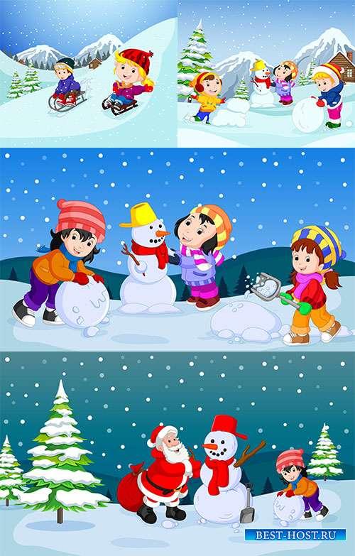 Наступила зима - веселится детвора - 5 - Векторный клипарт