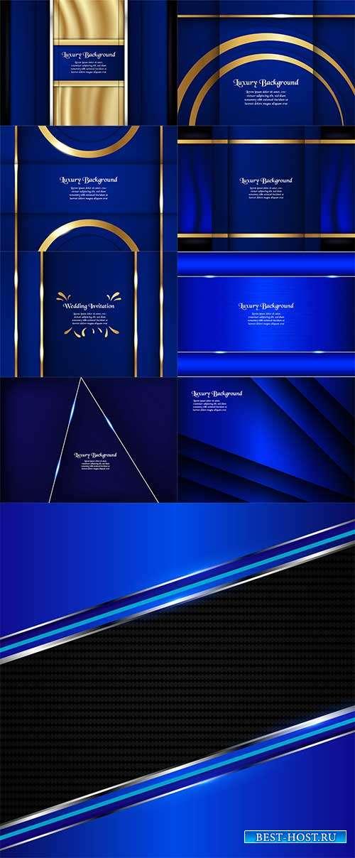 Голубые фоны с блеском - Векторный клипарт