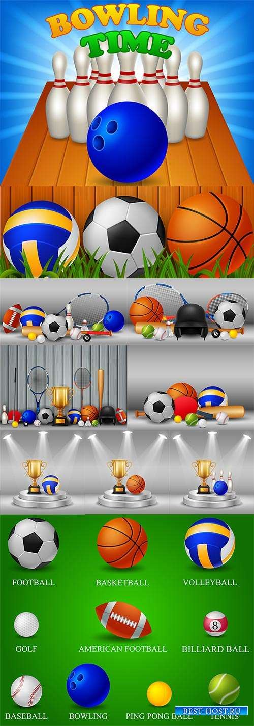 Мячи для спортивных игр - Векторный клипарт