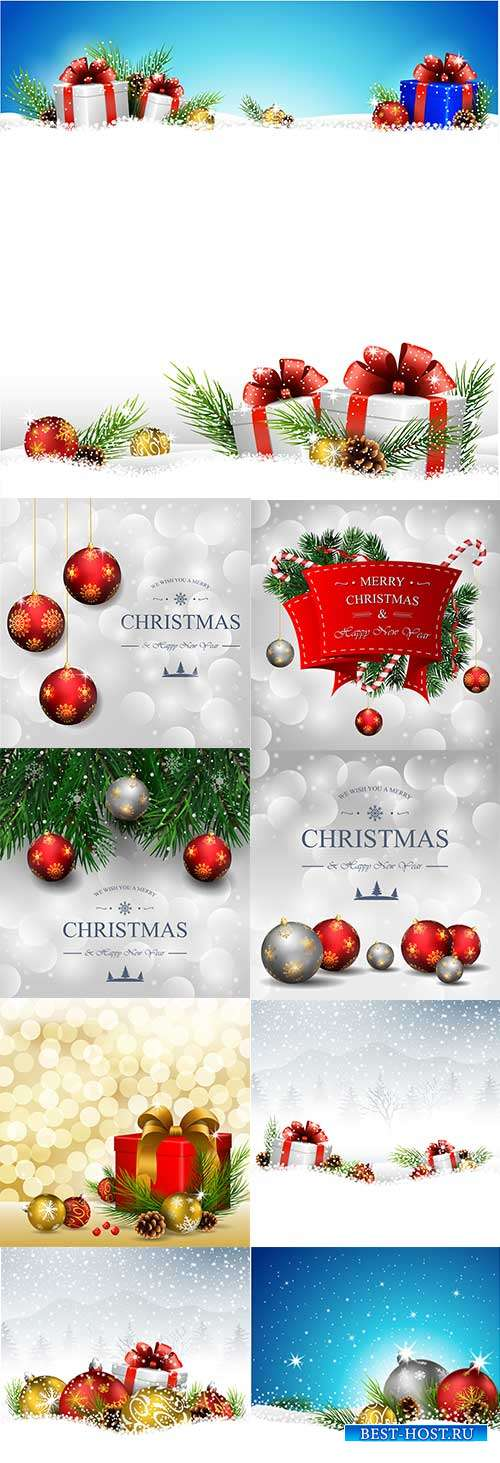 Праздничные новогодние фоны - 8 - Векторный клипарт