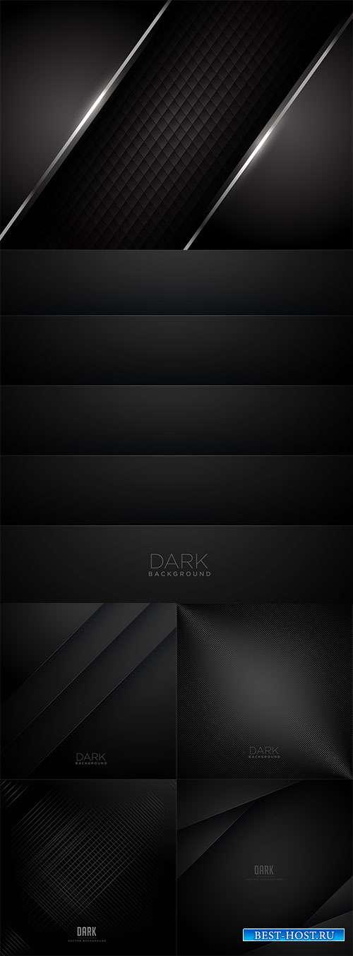 Чёрные фоны с серебром - Векторный клипарт