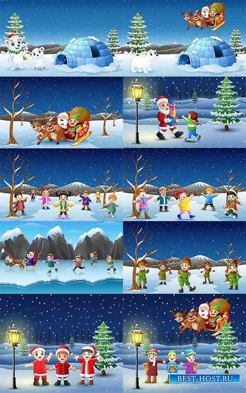 Наступила зима - веселится детвора - 6 - Векторный клипарт